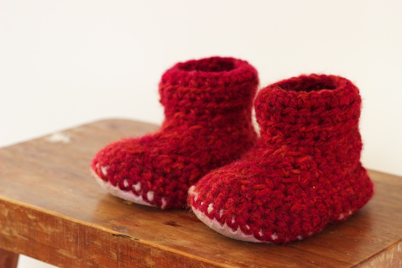 CROCHET SLIPPER BOOTS With Sheepskin Sole (1 year old) - Homegrown Kitchen